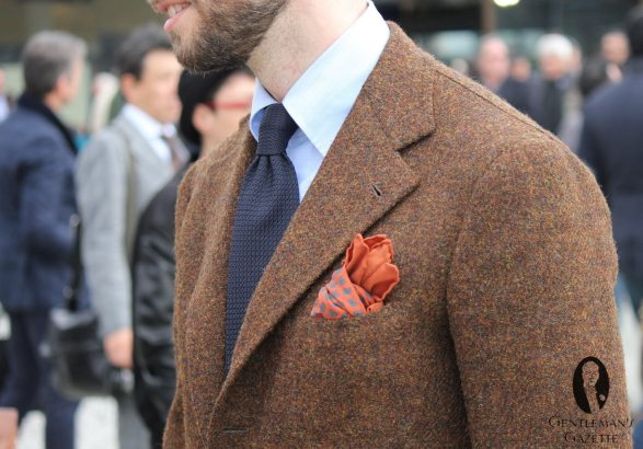 Beautiful-brown-sport-coat-with-grenadine-tie-and-orange-pocket-square-one-in-real-ancient-madder-silk-would-have-been-better-note-the-curved-button-down-collar